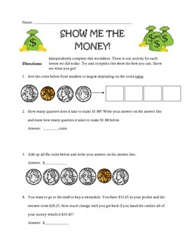 Show Me The Money worksheet