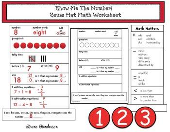 Show Me The Number! Versatile, Cat's Hat Math Worksheet