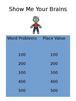 Show Me Your Brains Jeopardy (Place Value & Word Problems)
