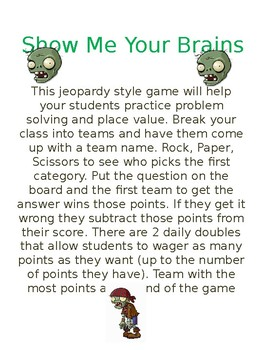 Show Me Your Brains Jeopardy (Place Value & Word Problemsw
