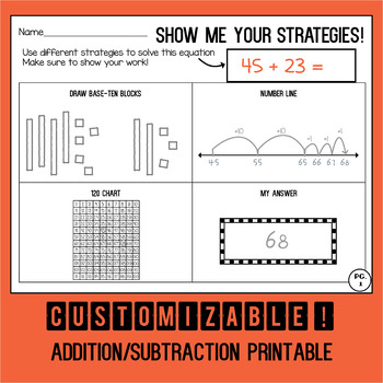 Show Me Your Math Strategies! Customizable Addition/Subtraction Sheet