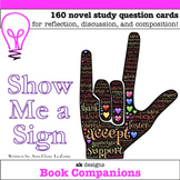 Show Me a Sign Novel Study Cards for Classroom & Distance