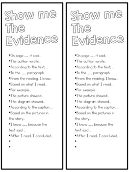 Show Me the Evidence Bookmarks