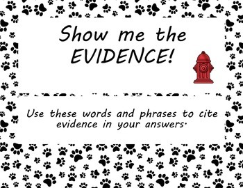 Show Me the Evidence Common Core Mini Posters Dog Puppy Theme