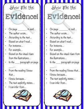 Show Me the Evidence Sentence Starters Bookmarks