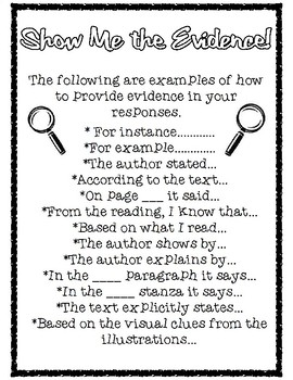 Show Me the Evidence Text Based Writing Sentence Starters