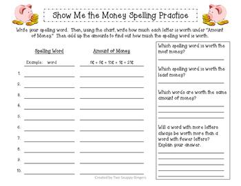 Show Me the Money Spelling Practice