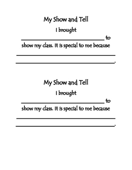 Show N' Tell Reflection