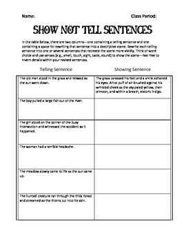 Show NOT Tell Sentences