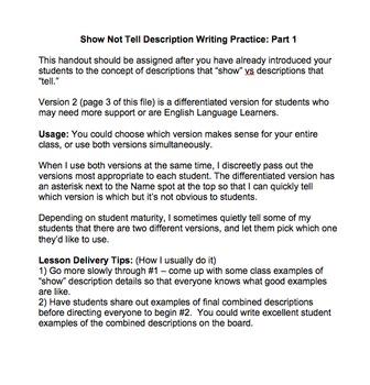 Show Not Tell Description Writing Part 1