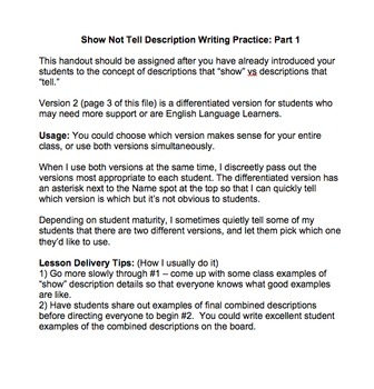 Show Not Tell Description Writing Part 1