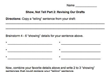 Show Not Tell Description Writing Revision Part 2