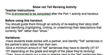 Show Not Tell Description Writing Revision Part 2