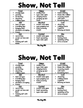 UPDATED! Show, Not Tell: Descriptive Word Chart for Student Journals