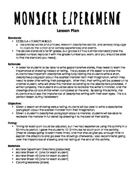 Show Not Tell Monster Experiment Writing Activity