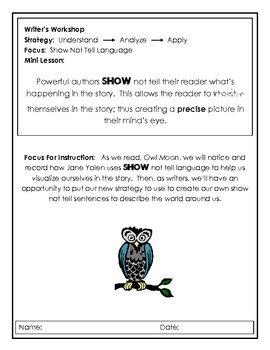 Show Not Tell Owl Moon Writing Activity
