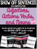 Grammar Daily Exit Slips, Warm Ups, & Assessments: Adj, Action Verbs, & Nouns