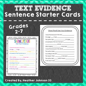 Text Evidence: Sentence Starter Cards