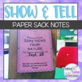Show and Tell Paper Sack Notes
