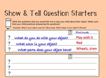 Show & Tell Question Starters