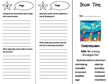 Show Time Trifold - Storytown 6th Grade Unit 1 Week 5