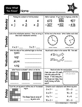 """""""Show What You Know!"""" 36 3rd Grade Weekly Math Practice Pages"""
