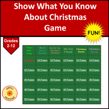 Show What You Know About Christmas Game