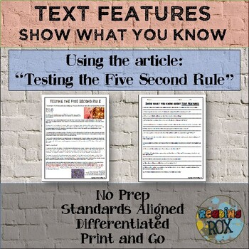 """Show What You Know About TEXT FEATURES """"Five Second Rule"""""""