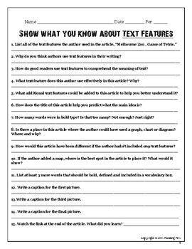 """Show What You Know About TEXT FEATURES """"Zoo Tetris"""""""