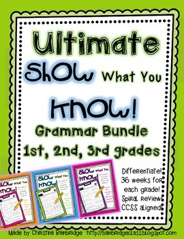 """Show What You Know!"" BUNDLE- 36 1st, 2nd, and 3rd Grade Weekly Grammar Practice"