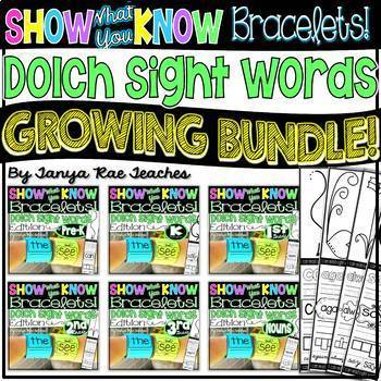 Show What You Know Bracelets! Dolch Sight Words - GROWING BUNDLE!