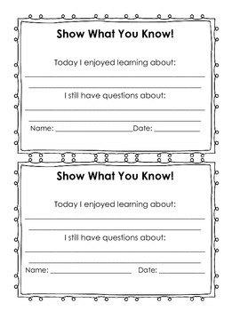 Show What You Know Exit Ticket