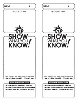 Show What You Know! Formative Assessment / Exit Ticket
