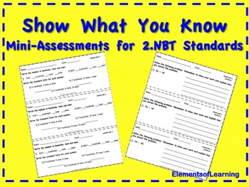 Show What You Know--2nd Grade Math NBT Ticket Out the Door
