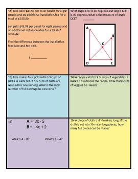 Show What You Know! (Middle School Math) - *EDITABLE w/ Answer Key*