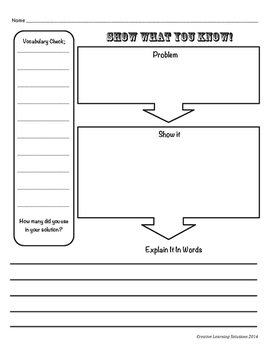 """Show What You Know"" Problem Solving Sheet for Middle School #1"