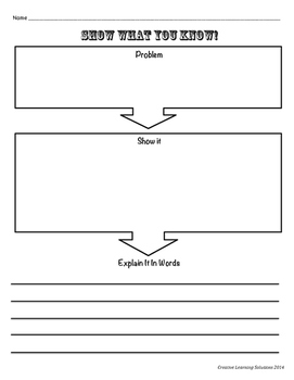 """Show What You Know"" Problem Solving Sheet for Middle School #2"