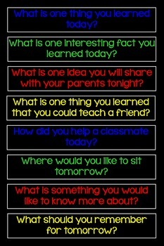 Show What You Know! or What Stuck With You Today? Primary Poster with Questions