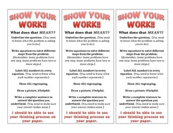 Show Your Work! bookmarks