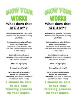 Show Your Work! binder insert