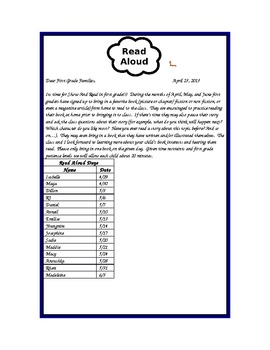 """""""Show and Read"""" Activity and letter home"""