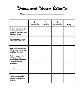 Show and Share Rubric