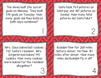 3-Digit Addition & Subtraction CHRISTMAS Word Problems