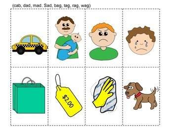 Show and Tell Apron Cards CVC Word Families