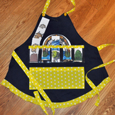 Show and Tell Apron (navy apron with bright yellow polka dot trim)