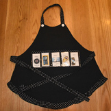 Show and Tell Apron (black with black trim with tiny white