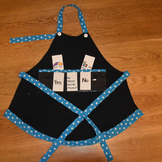 Show and Tell Apron (black with blue trim with white polka dots)