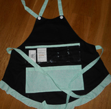 Show and Tell Apron (black with mint swirls)