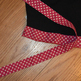 Show and Tell Apron (black with pink trim with white polka dots)