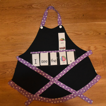 Show and Tell Apron (black with purple trim and white polka dots)